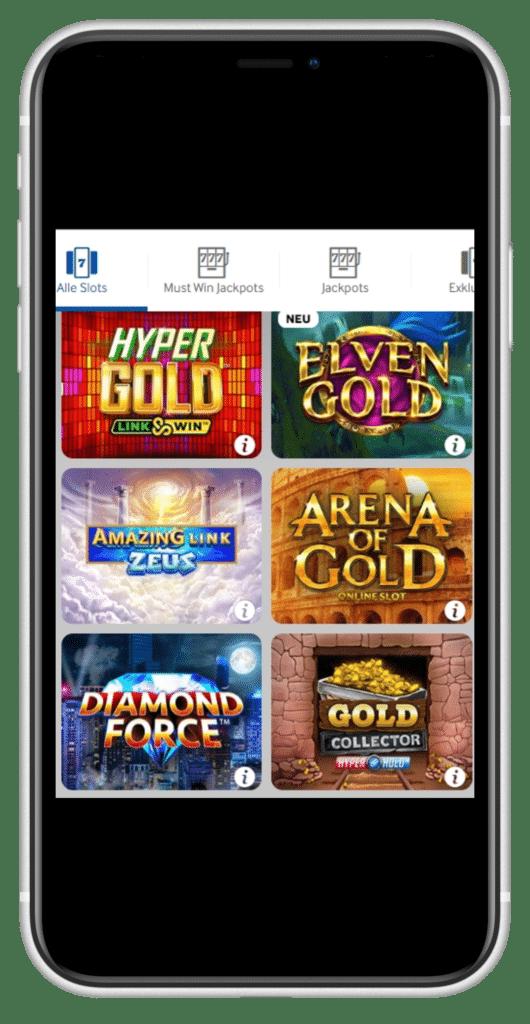 Betway Casino Schnittstelle Mobile Apps